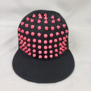 Black Pink Studded Snap Ball Cap Mens